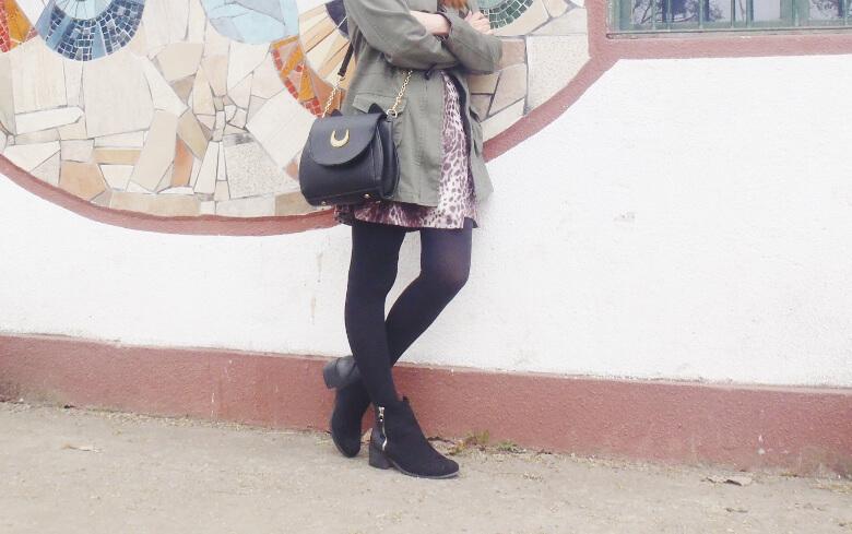 olive green parka animal print skater mini skirt black tights fall winter 2016 trends deborah ferrero style by deb newchic luna cat ear bag06