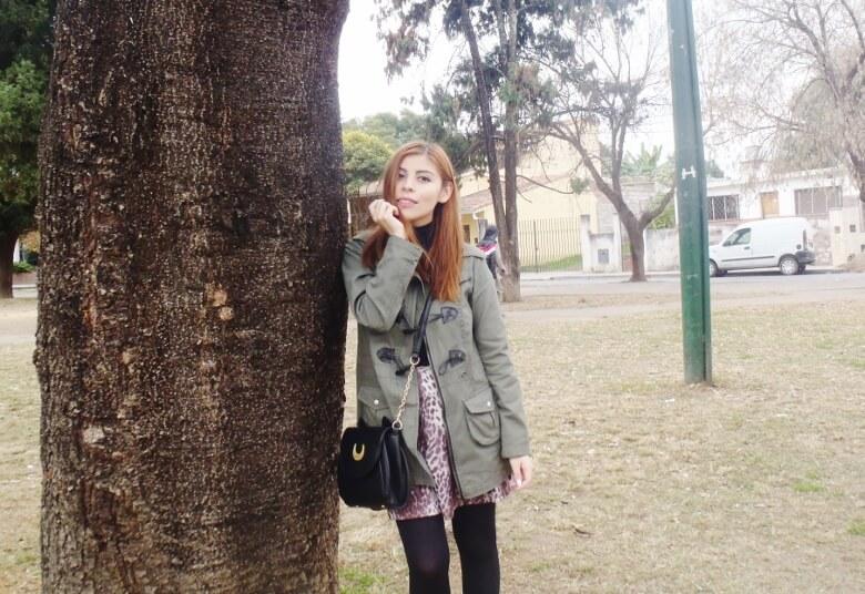 olive green parka animal print skater mini skirt black tights fall winter 2016 trends deborah ferrero style by deb newchic luna cat ear bag13