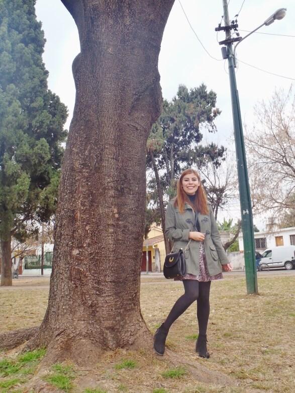 olive green parka animal print skater mini skirt black tights fall winter 2016 trends deborah ferrero style by deb newchic luna cat ear bag16