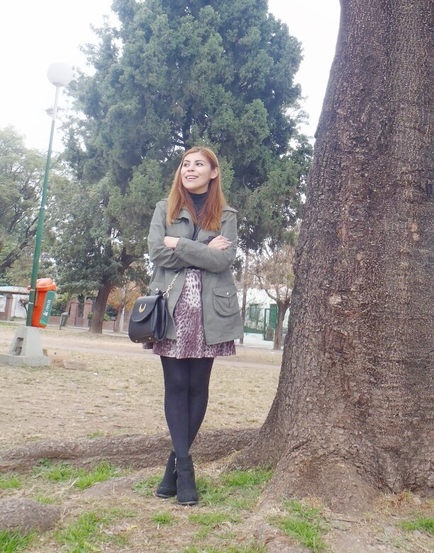 olive green parka animal print skater mini skirt black tights fall winter 2016 trends deborah ferrero style by deb newchic luna cat ear bag17