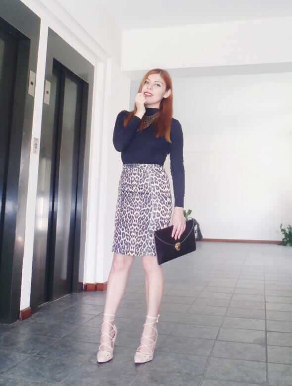 animal print pencil skirt black turtleneck zaful shoes laceup nude stilettos newdress leather clutch office chic style by deb deborah ferrero01