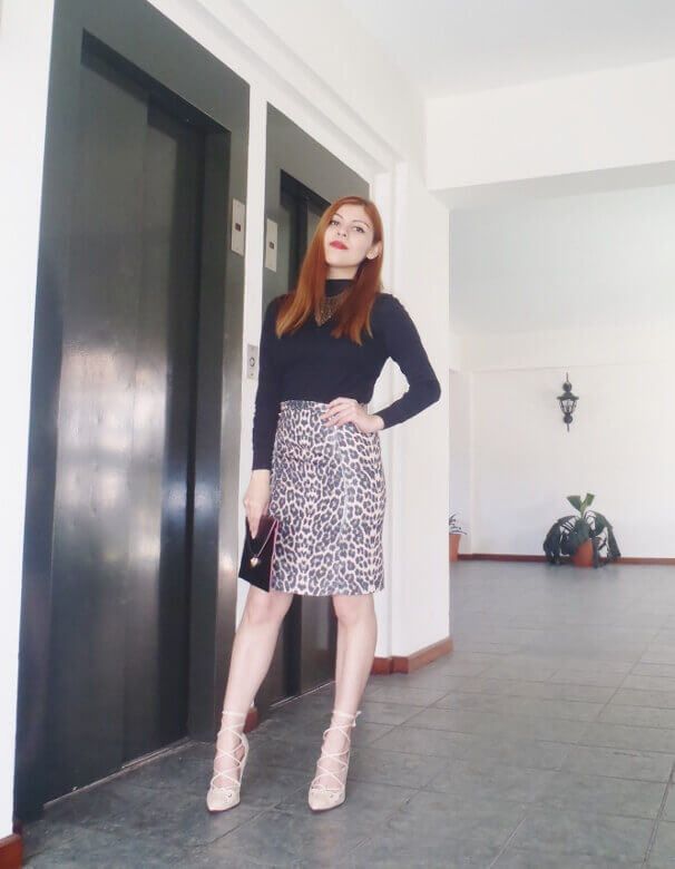 animal print pencil skirt black turtleneck zaful shoes laceup nude stilettos newdress leather clutch office chic style by deb deborah ferrero14