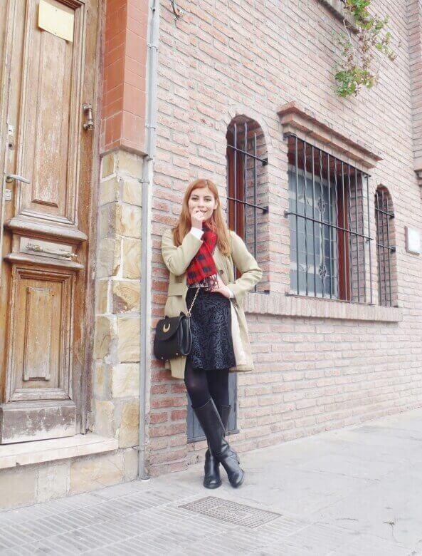 camel coat red tartan plaid scarf riding boots black skirt winter 2016 trends deborah ferrero style by deb02