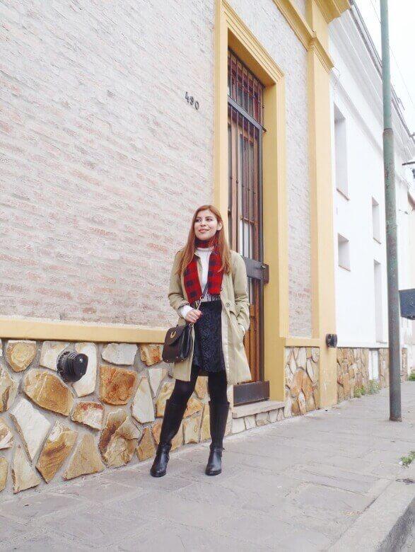 camel coat red tartan plaid scarf riding boots black skirt winter 2016 trends deborah ferrero style by deb03