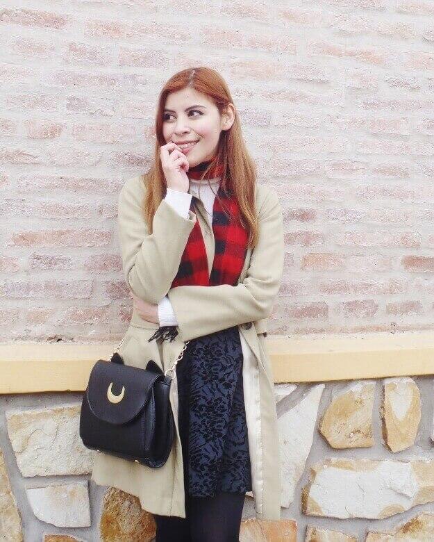 camel coat red tartan plaid scarf riding boots black skirt winter 2016 trends deborah ferrero style by deb04