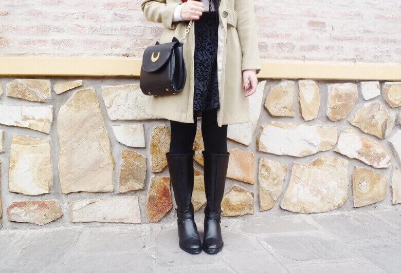 camel coat red tartan plaid scarf riding boots black skirt winter 2016 trends deborah ferrero style by deb07