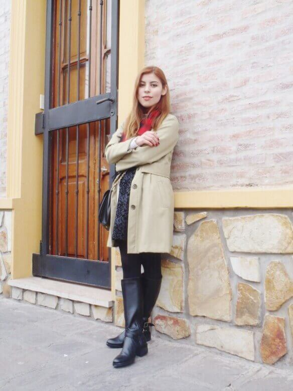 camel coat red tartan plaid scarf riding boots black skirt winter 2016 trends deborah ferrero style by deb10