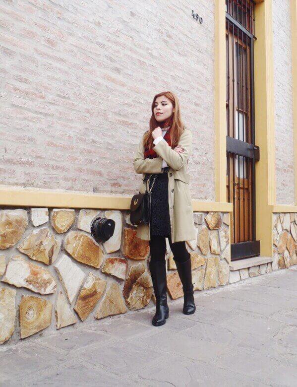 camel coat red tartan plaid scarf riding boots black skirt winter 2016 trends deborah ferrero style by deb11
