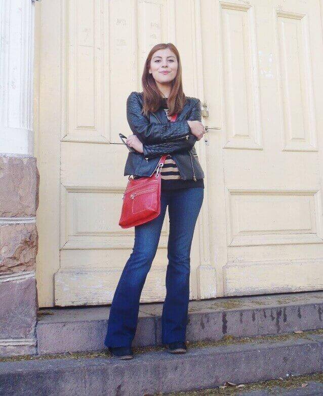 zaful leather jacket biker flare jeans stripey sweater deborah ferrero style by deb fall 2016 trends07
