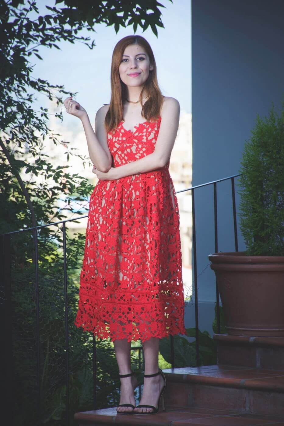 zaful red lace crochet midi lenght dress valentines day outfit ideas summer 2017 trends deborah ferrero style by deb08