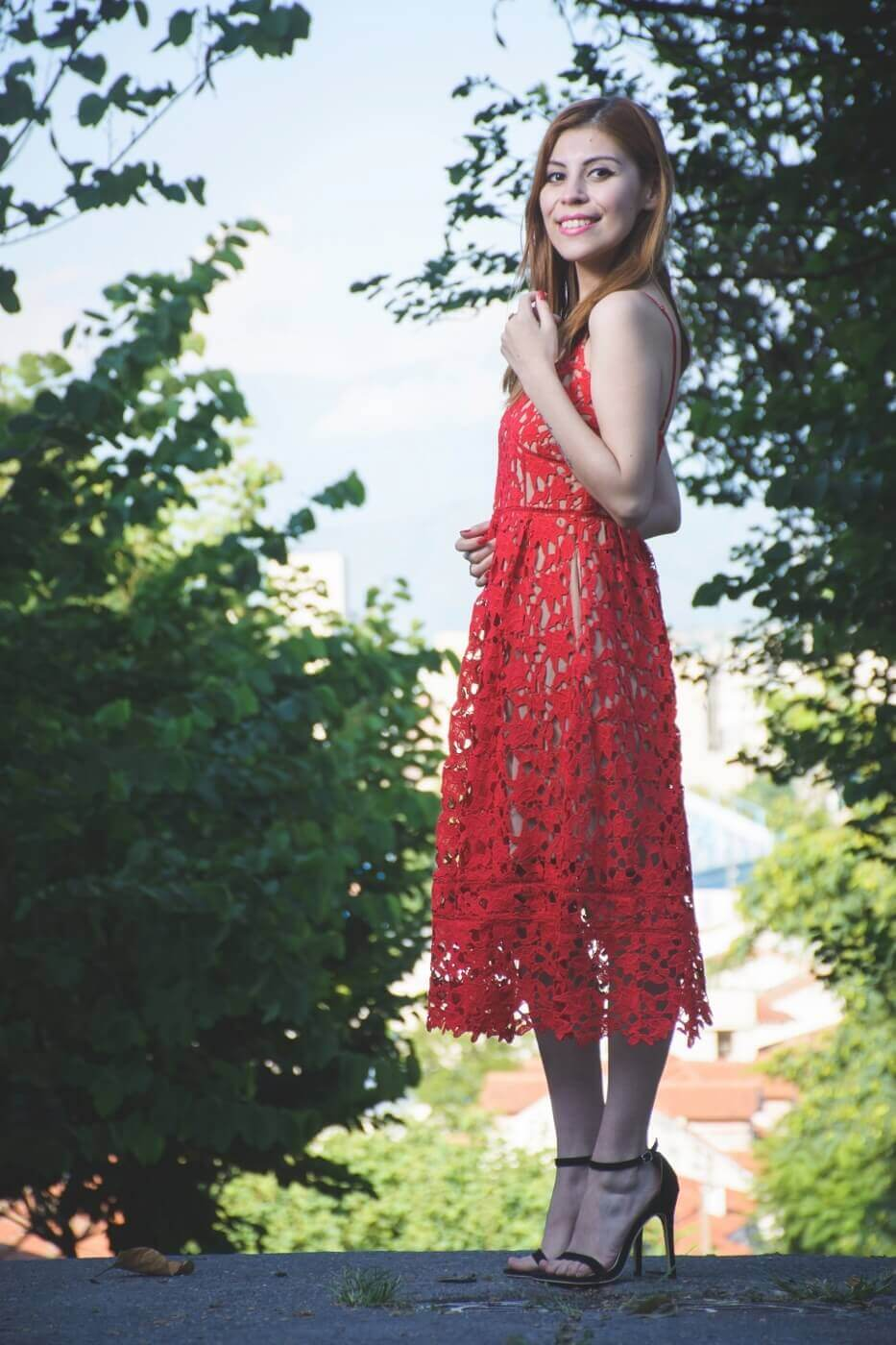zaful red lace crochet midi lenght dress valentines day outfit ideas summer 2017 trends deborah ferrero style by deb13
