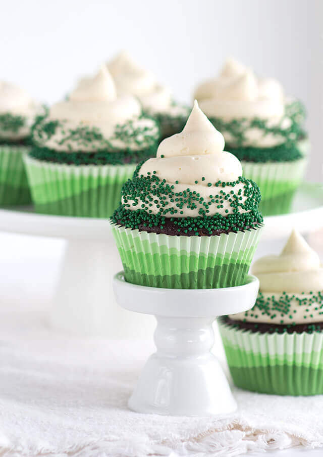 Chocolate Guinness Cupcakes with Baileys Cream Cheese Frosting