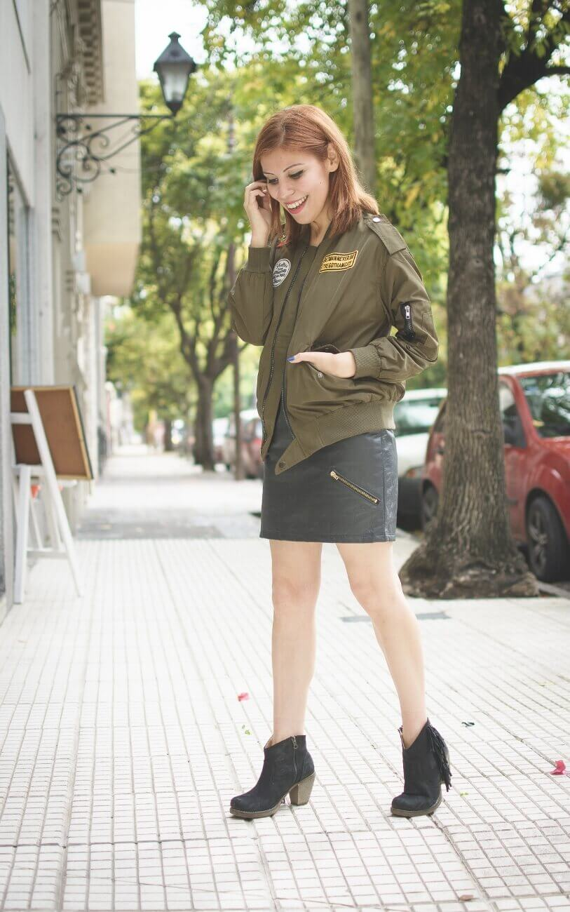 shein army green patched bomber jacket faux leather skirt deborah ferrero style by deb blogger argentina05