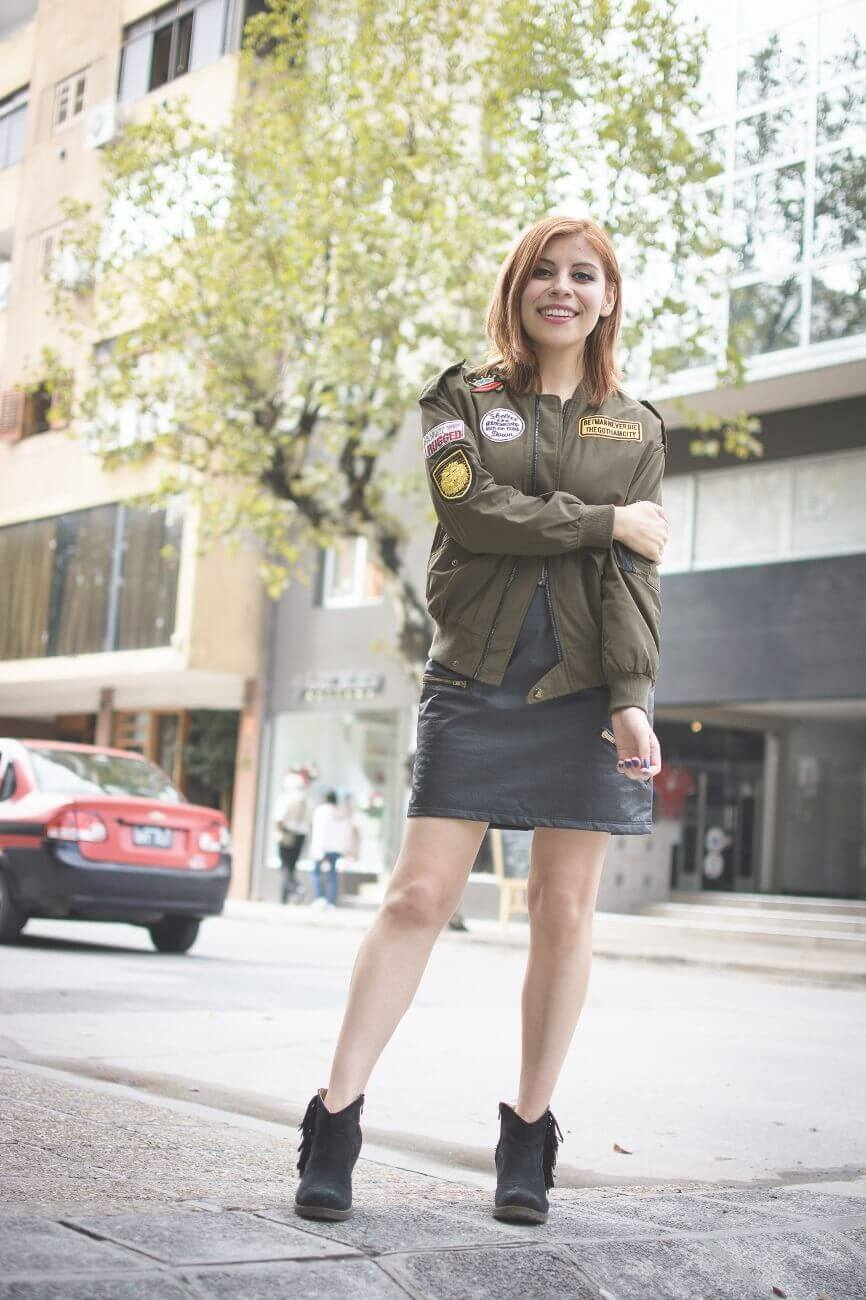 shein army green patched bomber jacket faux leather skirt deborah ferrero style by deb blogger argentina07