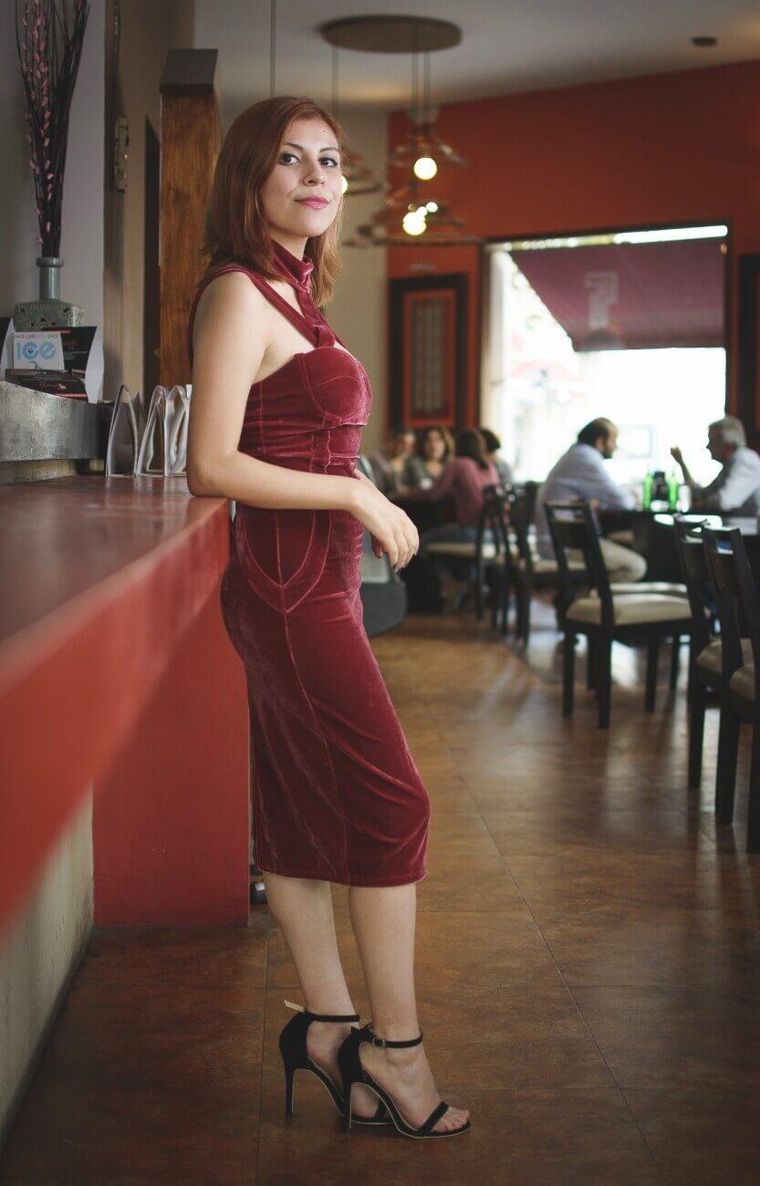 shein pink velvet halter straps dress deborah ferrero style by deb salta streetstyle gamiss black sandals10