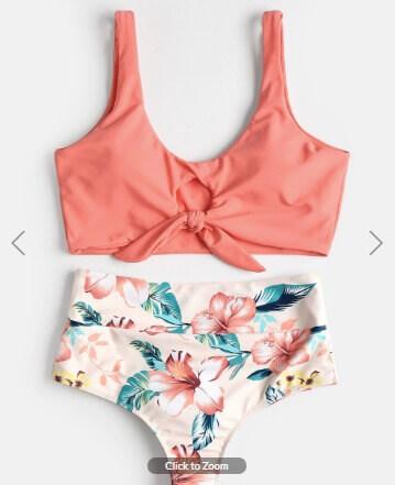 ae168b4410e35 Appliques Lace Leaves Print Bikini Set