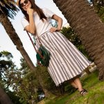 SUN AND PALM TREES: SUMMER STRIPED MIDI SKIRT