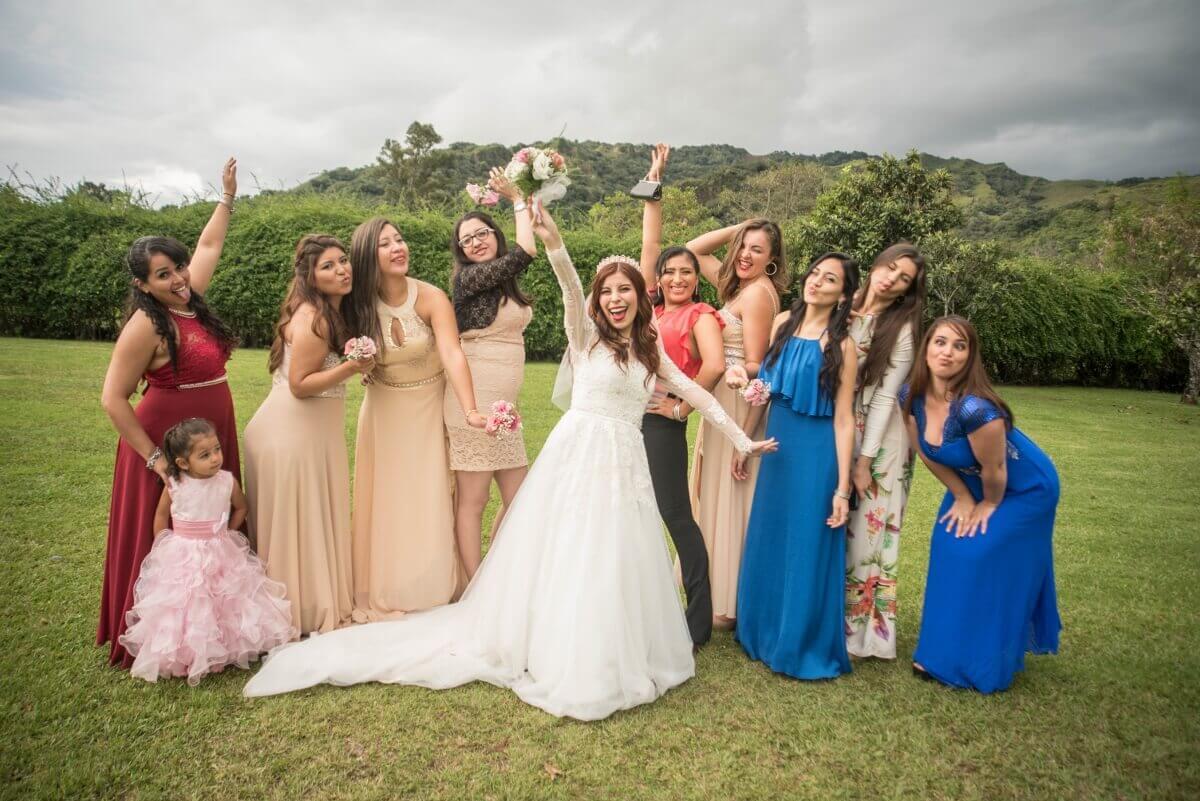 wedding bride deborah ferrero and friends