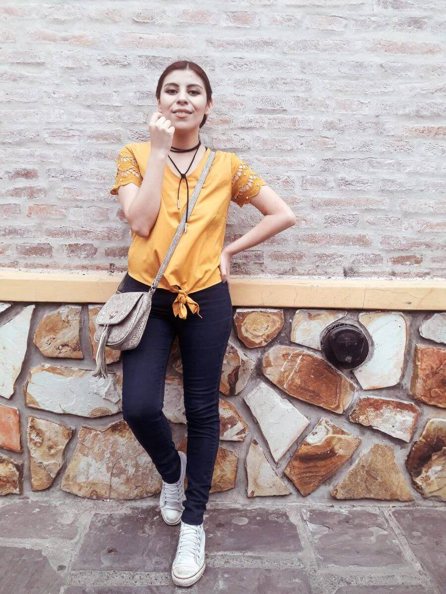 deborah ferrero wearing mustard yellow top by oeyes