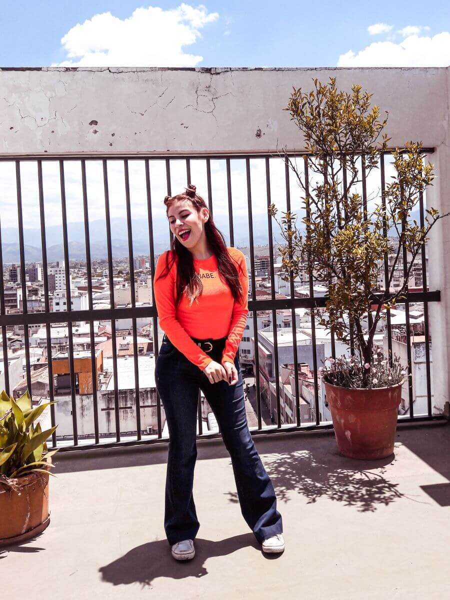 deborah ferrero style by deb wearing babe orange bodysuit blogger argentina influencer salteña