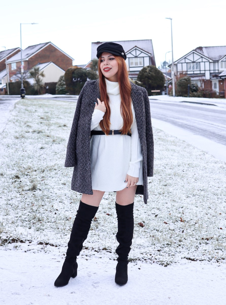 style by deb wearing white sweater dress