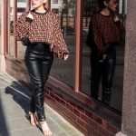 CROPPED SWEATER + FAUX-LEATHER PANTS