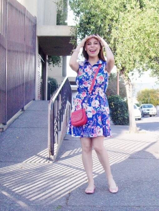 blue-floral-dress-pink-ballerinas-streetstyle-coral-girly-feminine-ladylike04