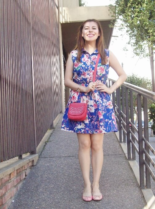 blue-floral-dress-pink-ballerinas-streetstyle-coral-girly-feminine-ladylike10