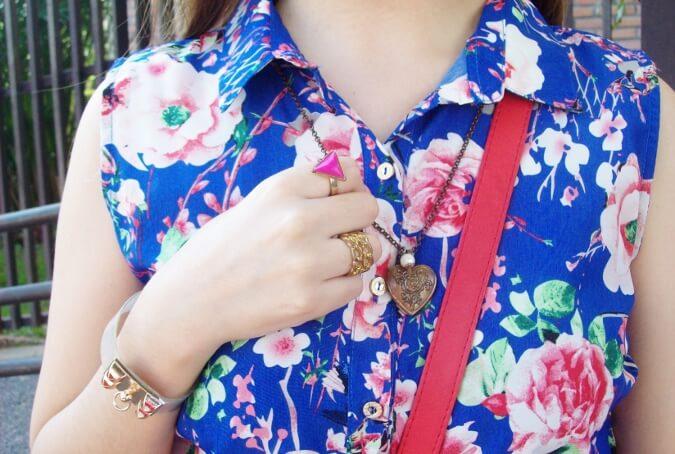 blue-floral-dress-pink-ballerinas-streetstyle-coral-girly-feminine-ladylike13