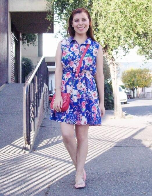 blue-floral-dress-pink-ballerinas-streetstyle-coral-girly-feminine-ladylike15