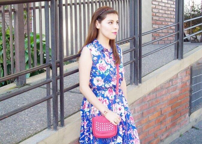 blue-floral-dress-pink-ballerinas-streetstyle-coral-girly-feminine-ladylike16