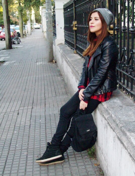 tartan-shirt-faux-leather-biker-beanie-fall2015-streetstyle01