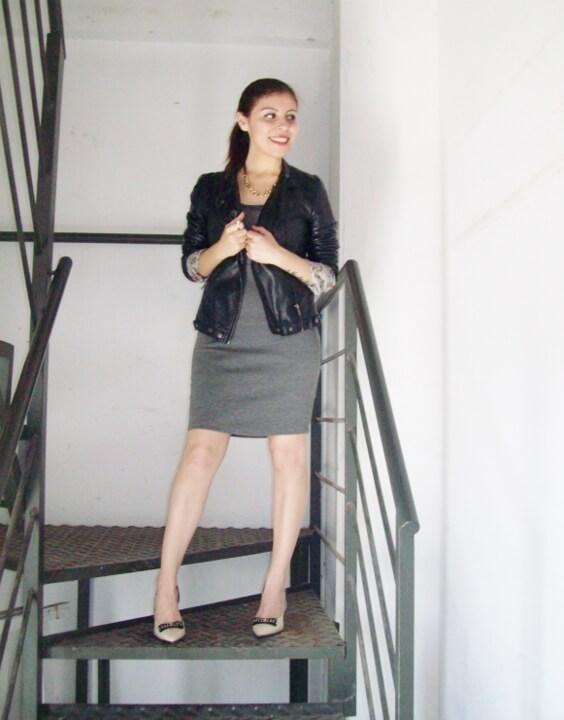 grey-dress-faux-leather-biker-jacket-bicolor-shoes-fall2015-streetstyle04
