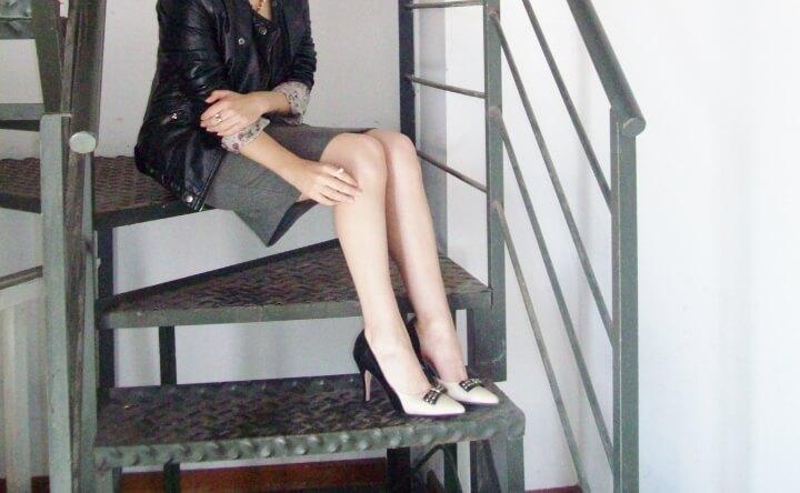 grey-dress-faux-leather-biker-jacket-bicolor-shoes-fall2015-streetstyle05