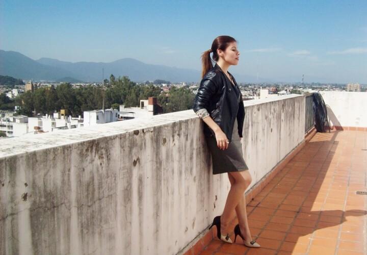 grey-dress-faux-leather-biker-jacket-bicolor-shoes-fall2015-streetstyle10