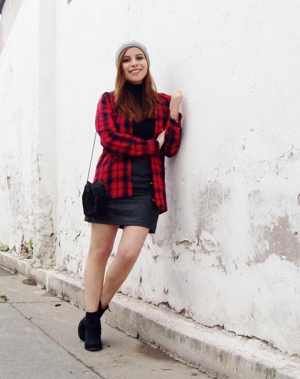 tartan-plaid-shirt-leather-mini-skirt-black-turtleneck-fall2015-ankle-boots12