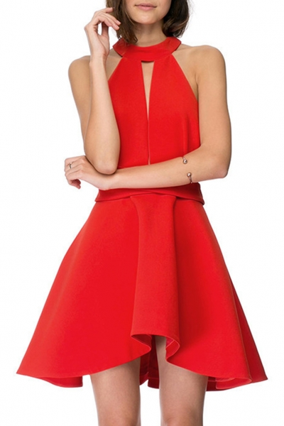 red-cut-out-front-sleeveless-halter-a-line-dress