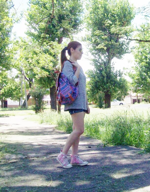 summer-light-sweater-denim-shorts-spring-summer-2016-backpack-trends-pink-sneakers-yellow-mirrored-aviator-sunglasses11