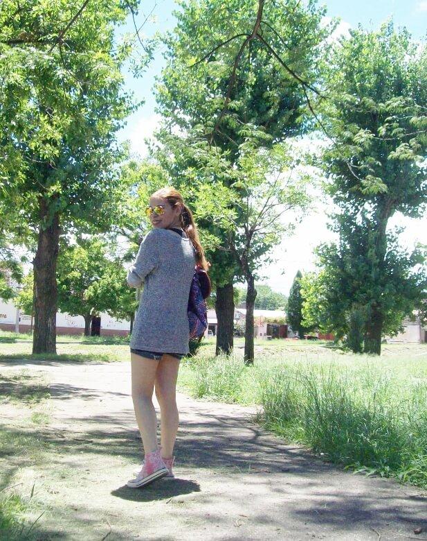 summer-light-sweater-denim-shorts-spring-summer-2016-backpack-trends-pink-sneakers-yellow-mirrored-aviator-sunglasses14