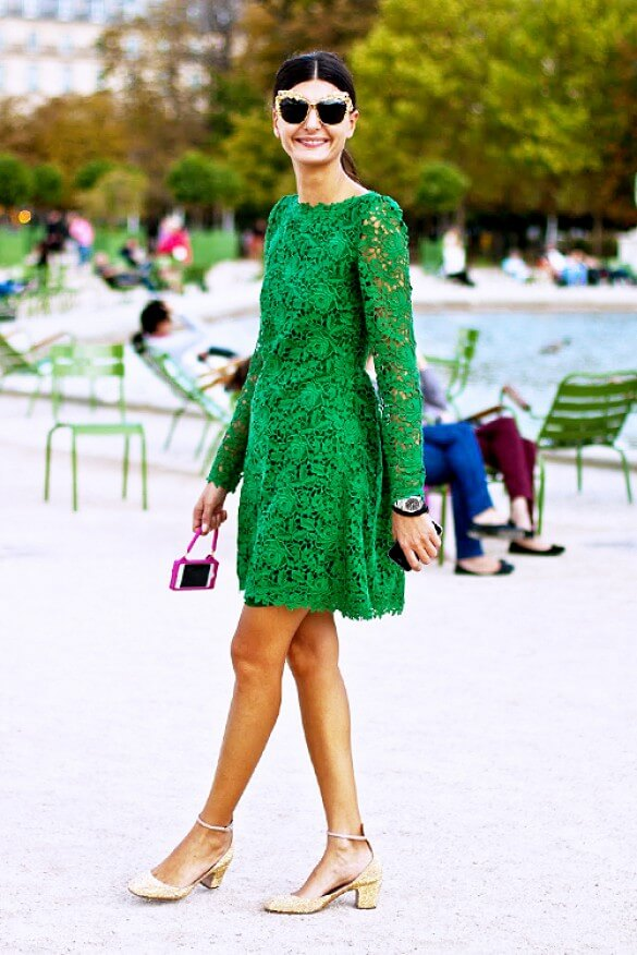 03 - pinterest streetstyle lace dress green femenine dress milan stylish st patrciks outfit ideas