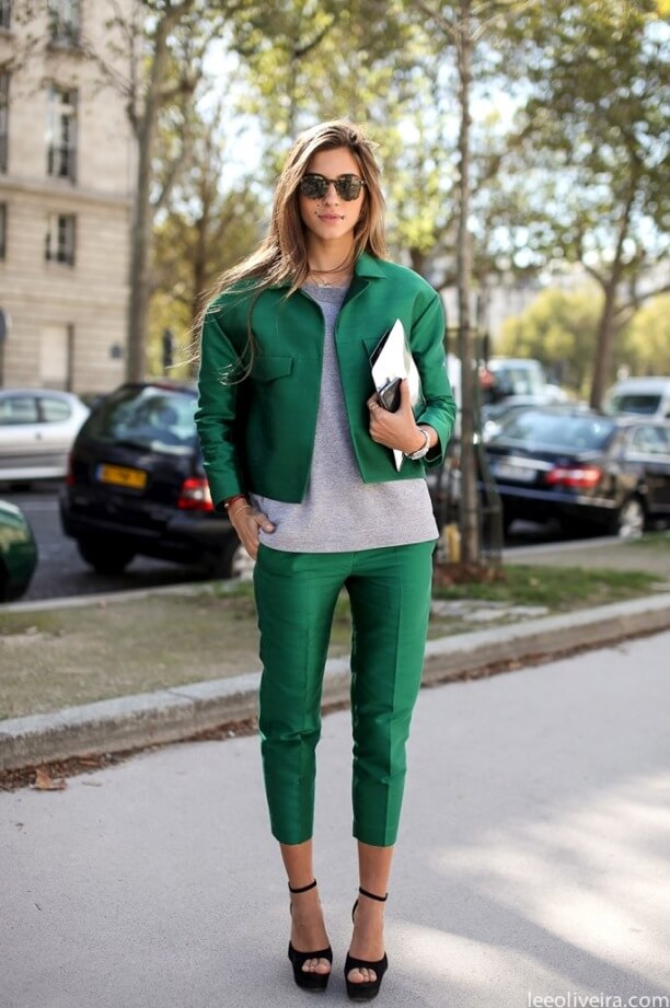 04 - romantic and rebel - green bomber jacket green pants stylish st patricks outfit ideas