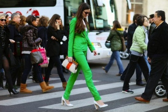 08 - pinterest chicago streetstyle - green suit white pumps st patricks outfit ideas
