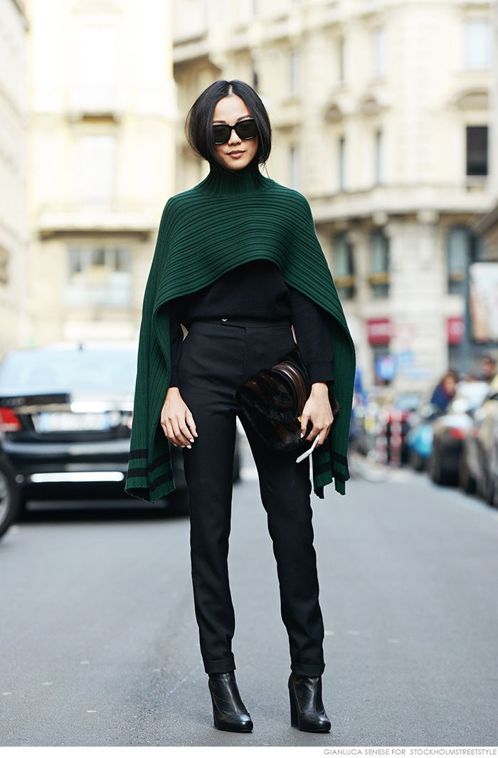 09 - pinterest deep green poncho blac outfit stylish st patrciks outfit ideas