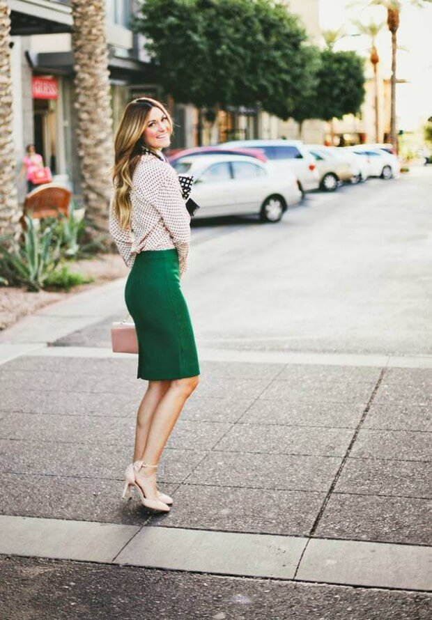 12 - alittledashofdarling - emeral green pencial skirt nude heels and button up shirt st patricks outfits ideas