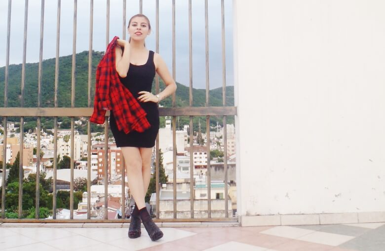 tartan-shirt-grunge-lbd-little-black-dress-shoes and socks - laceup-booties-grungeylook07