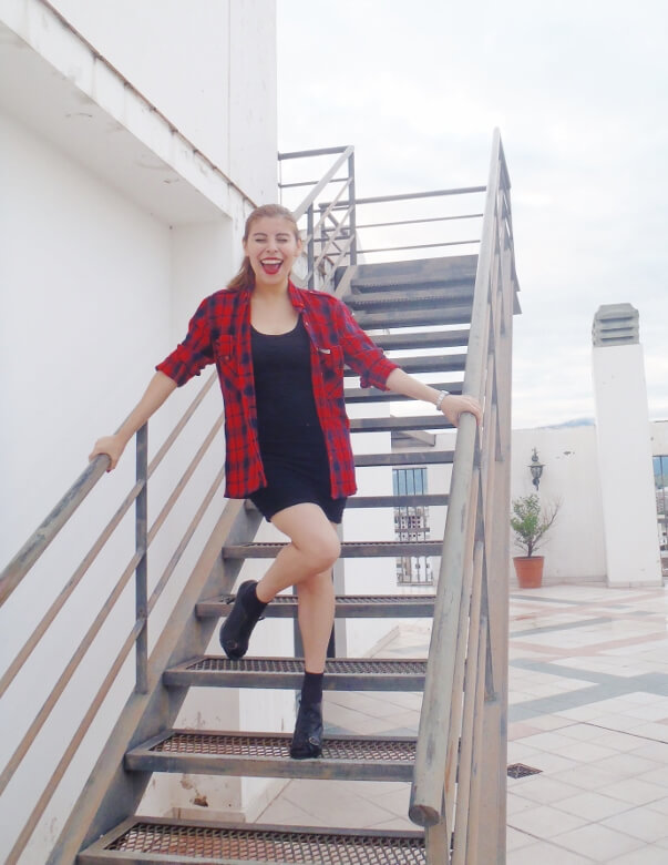 tartan-shirt-grunge-lbd-little-black-dress-shoes and socks - laceup-booties-grungeylook10
