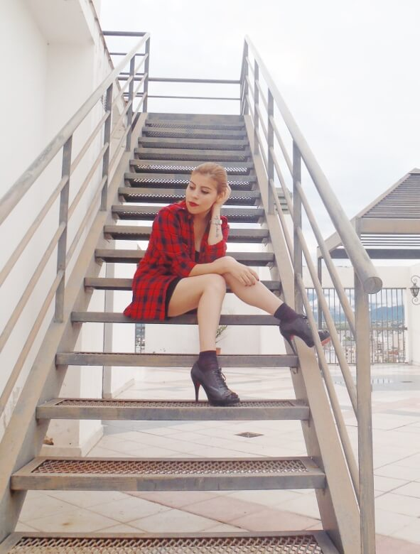 tartan-shirt-grunge-lbd-little-black-dress-shoes and socks - laceup-booties-grungeylook15
