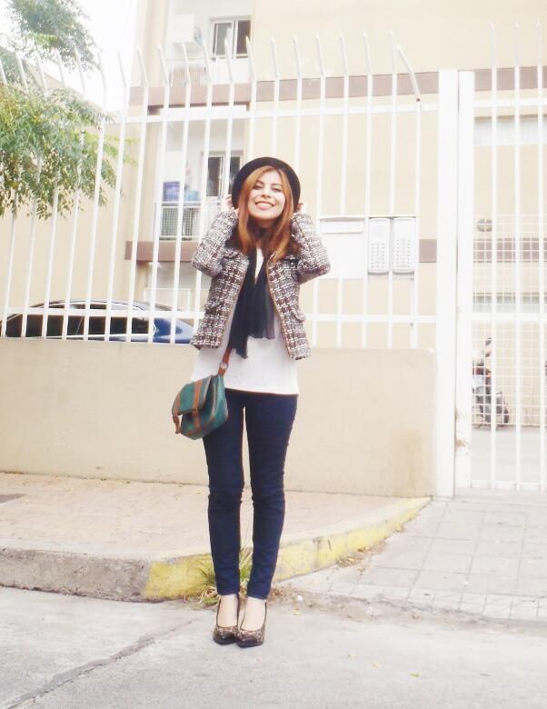 tweed-jacket-skinny-tie-scarf-skinny-jeans-animal-print-stiletto-shoes-black-fedora-fall-winter2016-trends-deborah-ferrero-style-by-deb01