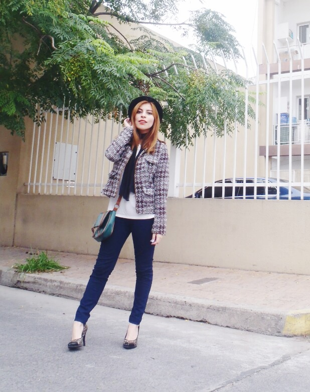 tweed-jacket-skinny-tie-scarf-skinny-jeans-animal-print-stiletto-shoes-black-fedora-fall-winter2016-trends-deborah-ferrero-style-by-deb06