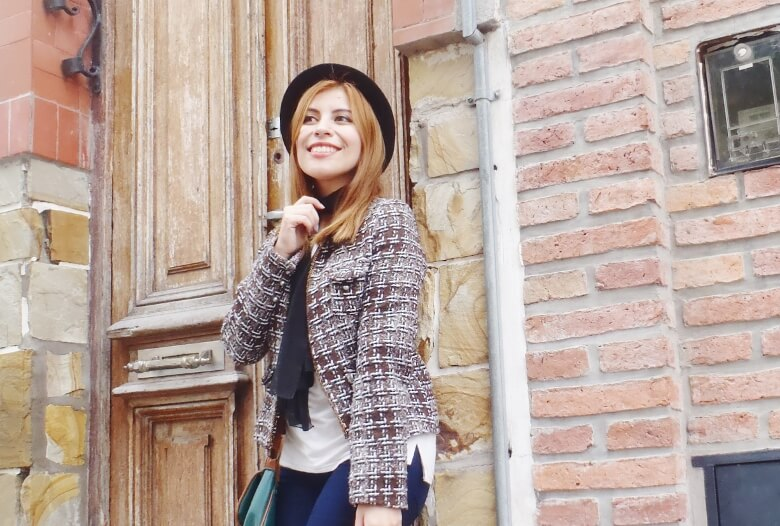 tweed-jacket-skinny-tie-scarf-skinny-jeans-animal-print-stiletto-shoes-black-fedora-fall-winter2016-trends-deborah-ferrero-style-by-deb07